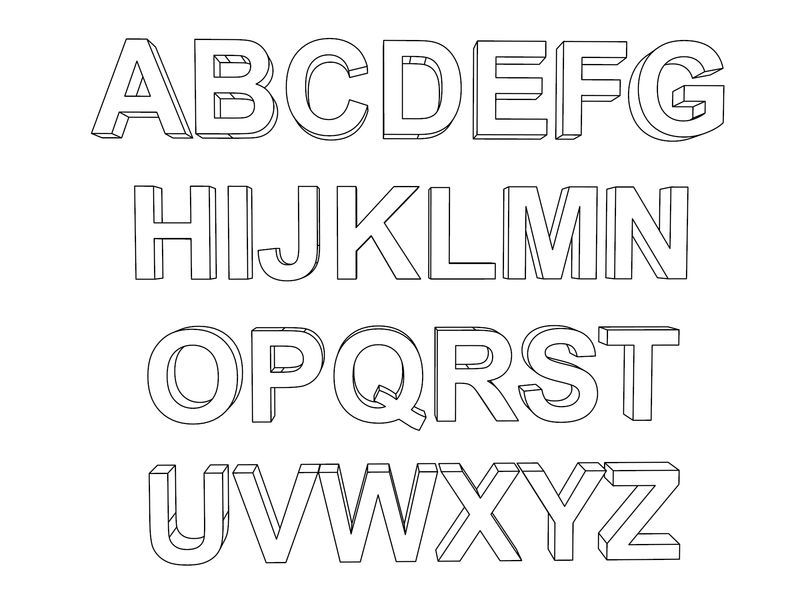 english alphabet coloring pages 3d alphabet coloring page also see the category to find coloring english alphabet pages