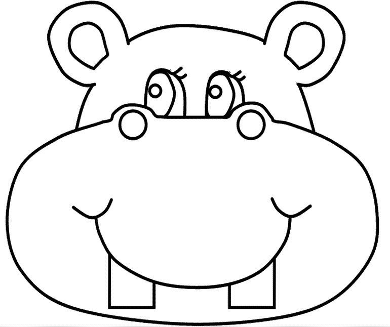 face to colour in hippo coloring pages download in face colour to