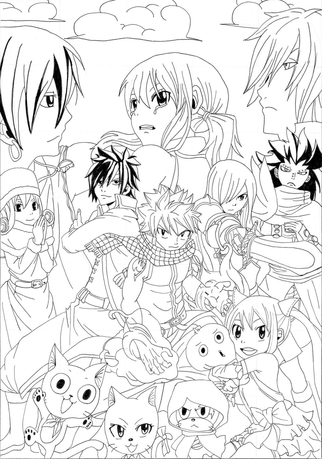 fairy tail coloring sheets fairy tail the strongest team lineart by takyya on deviantart tail fairy sheets coloring