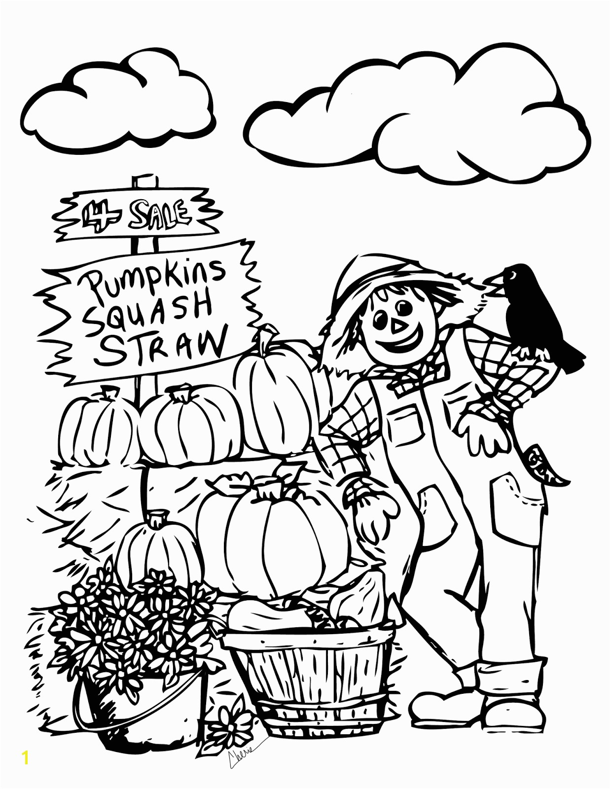 fall themed coloring pages autumn scene with scarecrow coloring page free printable themed coloring fall pages