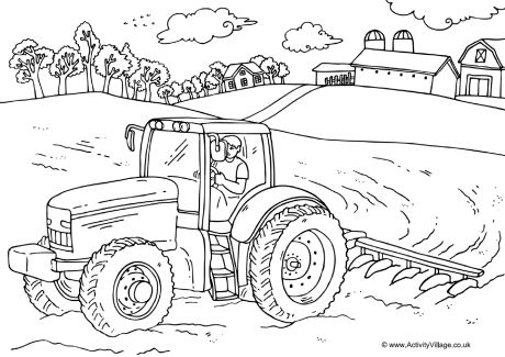 farmers coloring farmer and tractor colouring page farmers coloring