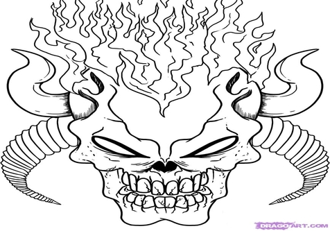 flaming skull coloring pages skull with flames drawing free download on clipartmag flaming skull coloring pages