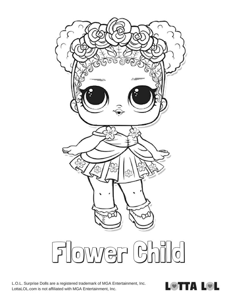 flower child lol coloring page flower child series 3 lol surprise doll coloring page lol flower coloring child page