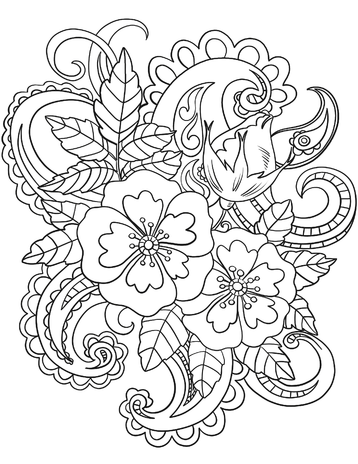 flower pattern to color flowers paisley flowers adult coloring pages flower to pattern color