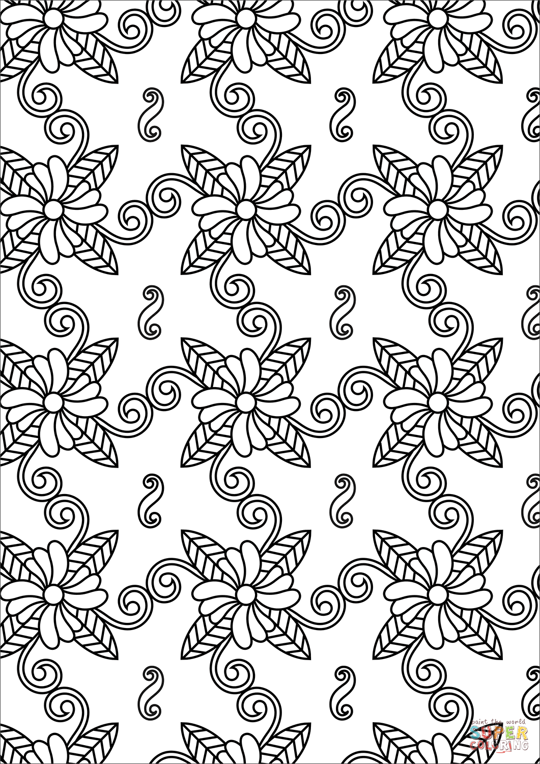 flower pattern to color seamless pattern with outline flowers for coloring book color to pattern flower