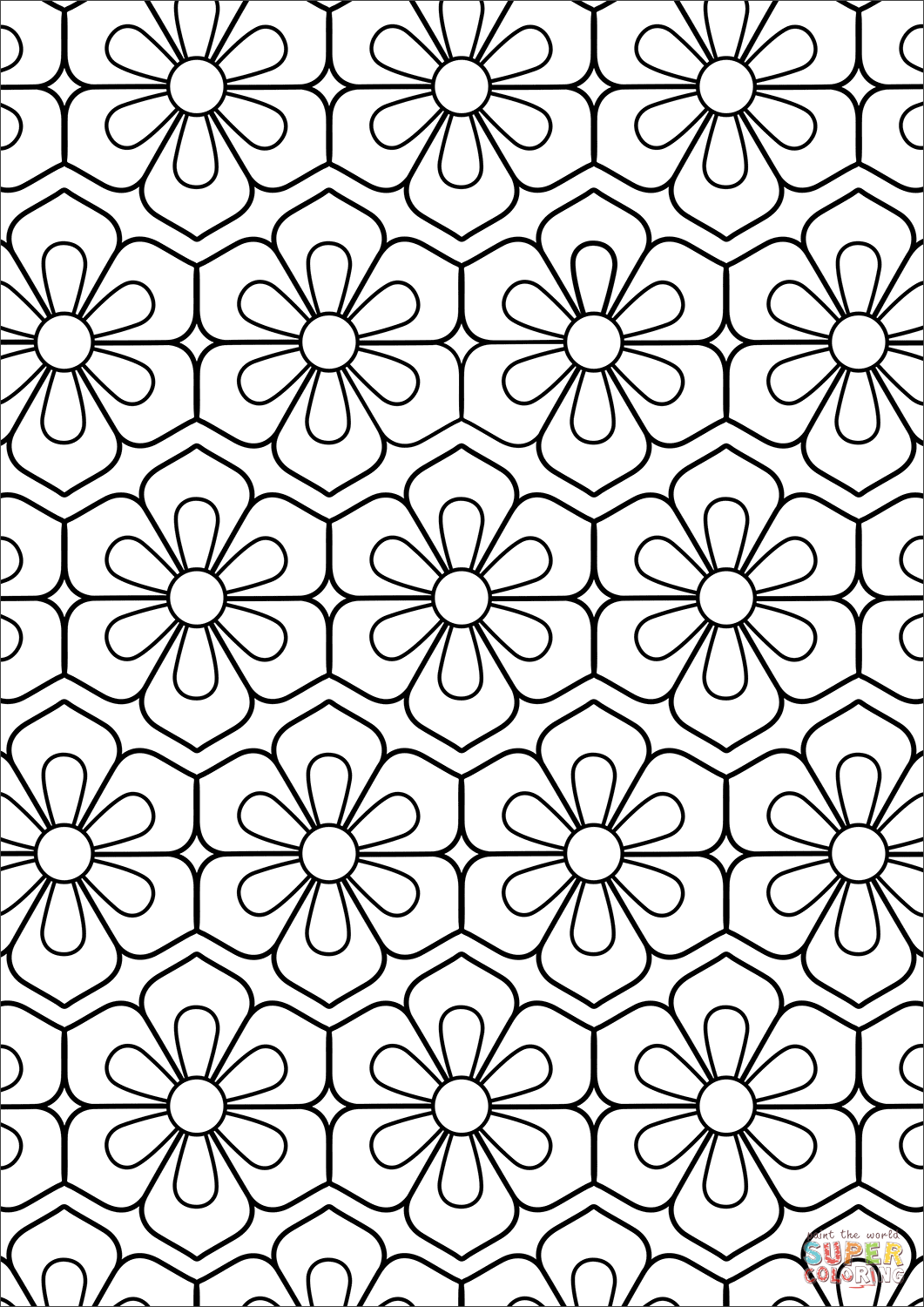 flower pattern to color simple repeating flower pattern mandala to color 1024x858 flower pattern to color