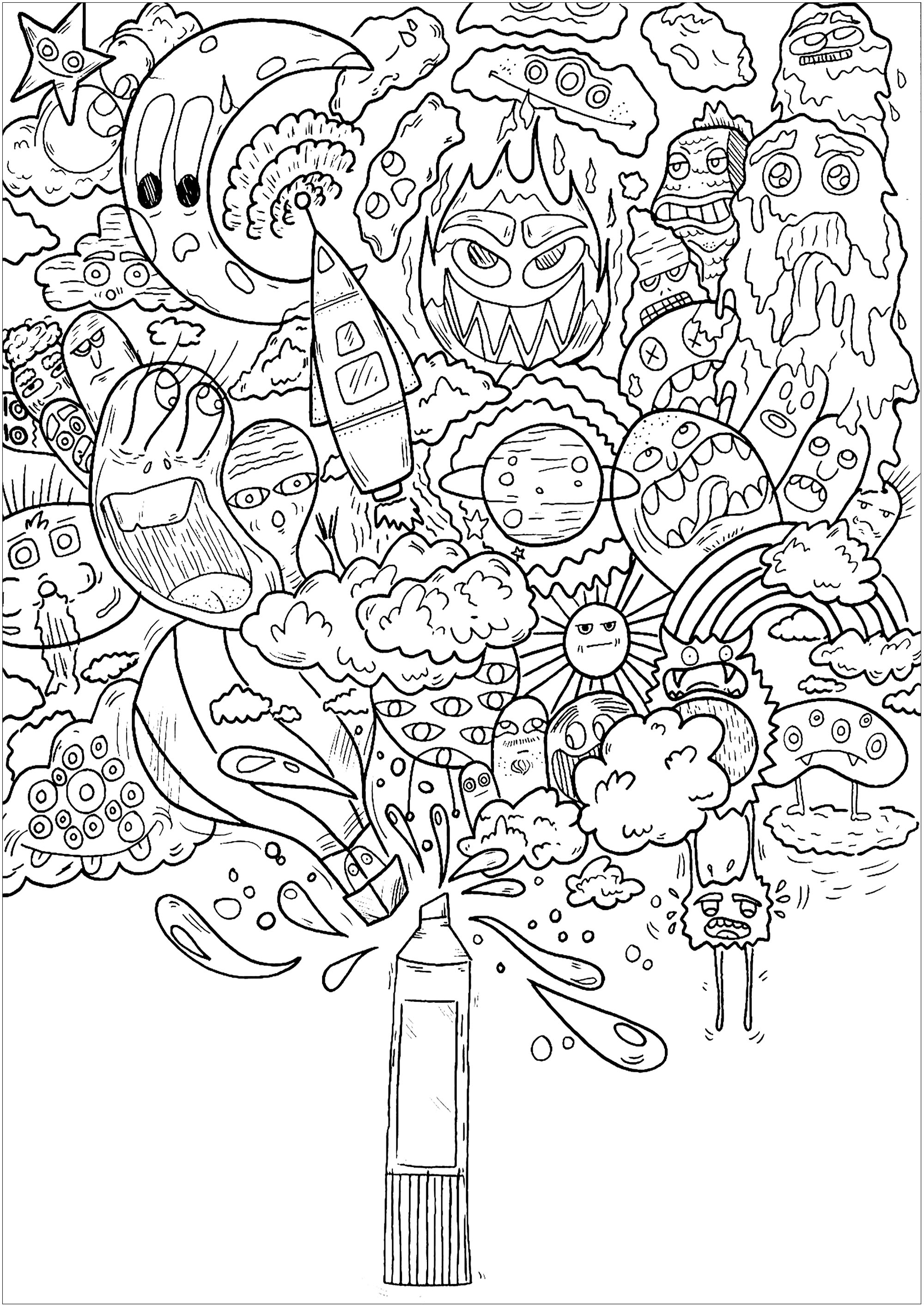 free doodle art to print and color get this printable doodle art coloring pages for grown ups and color free doodle art print to
