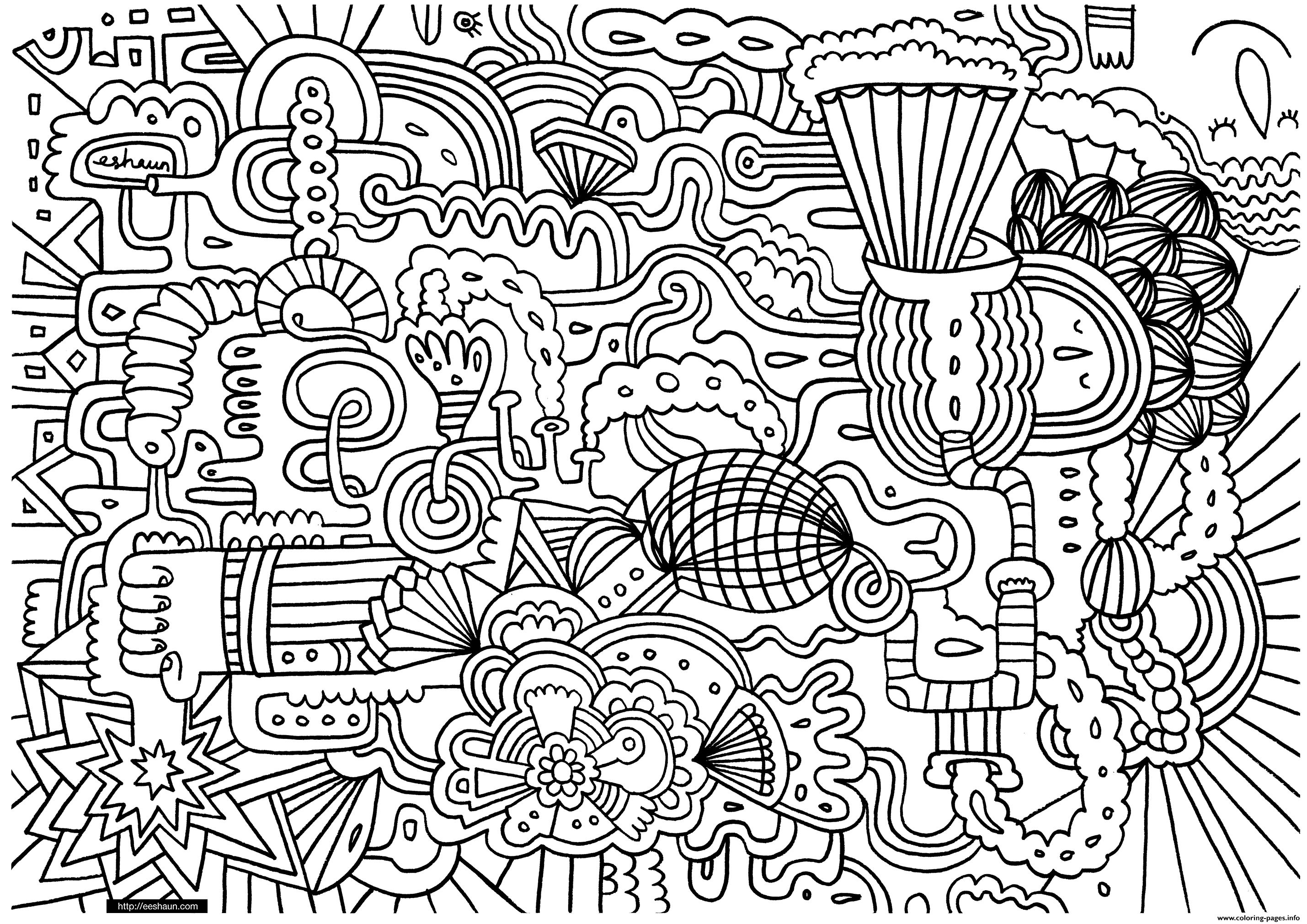 free doodle art to print and color popsicle doodle coloring page printable cutekawaii coloring color art to print and doodle free