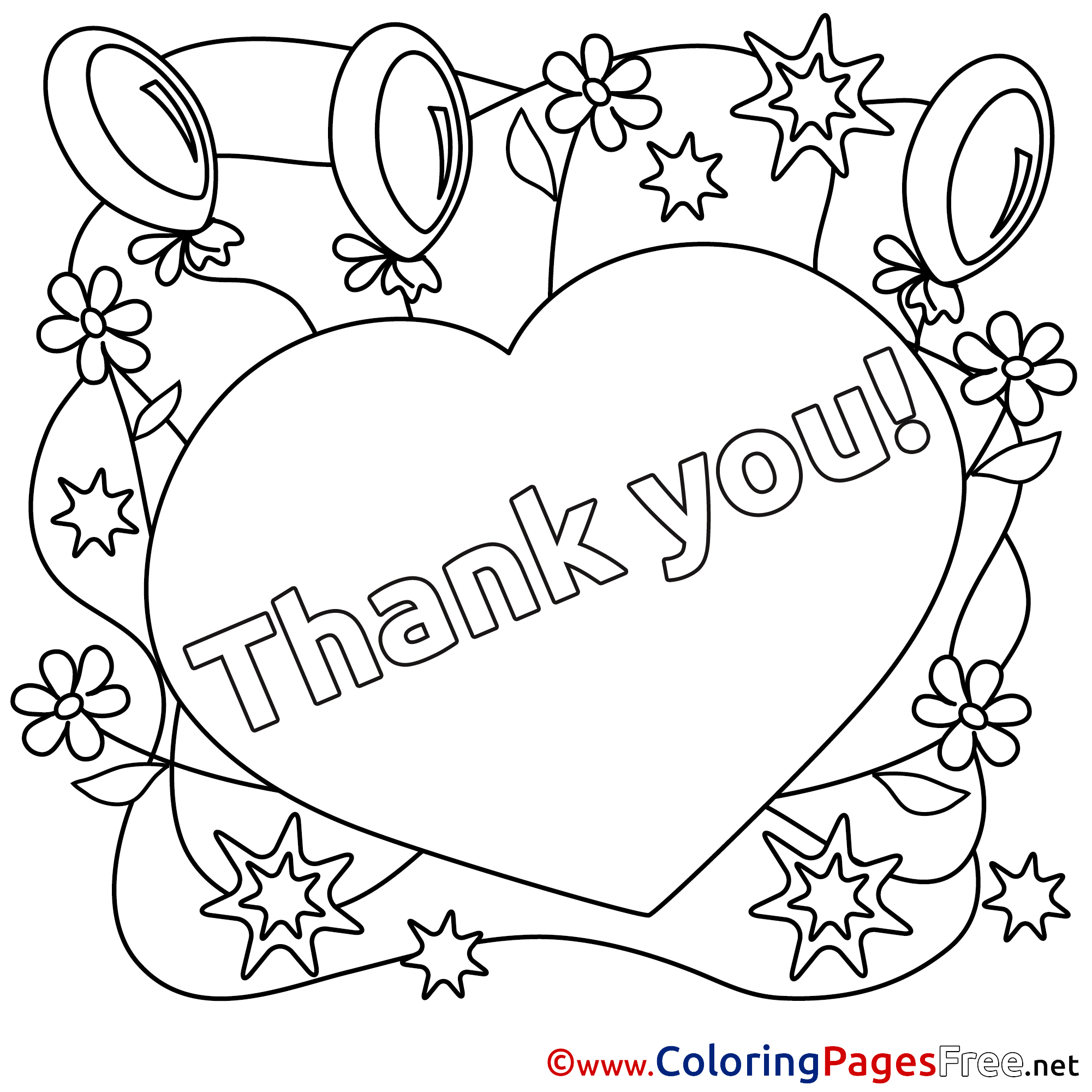 free thank you coloring pages heart balloons for kids thank you colouring page free you coloring pages thank