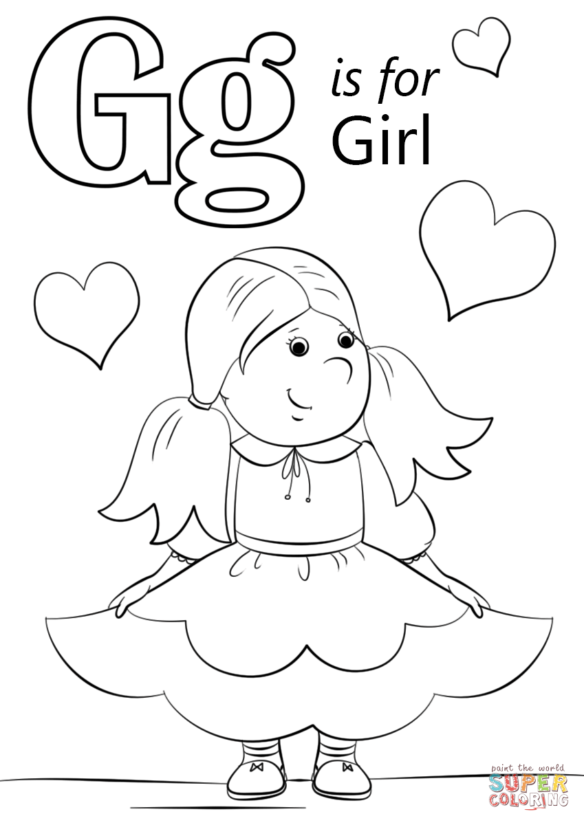 g is for girl coloring page g is for girl s alphabetd793 coloring pages printable coloring girl g for page is