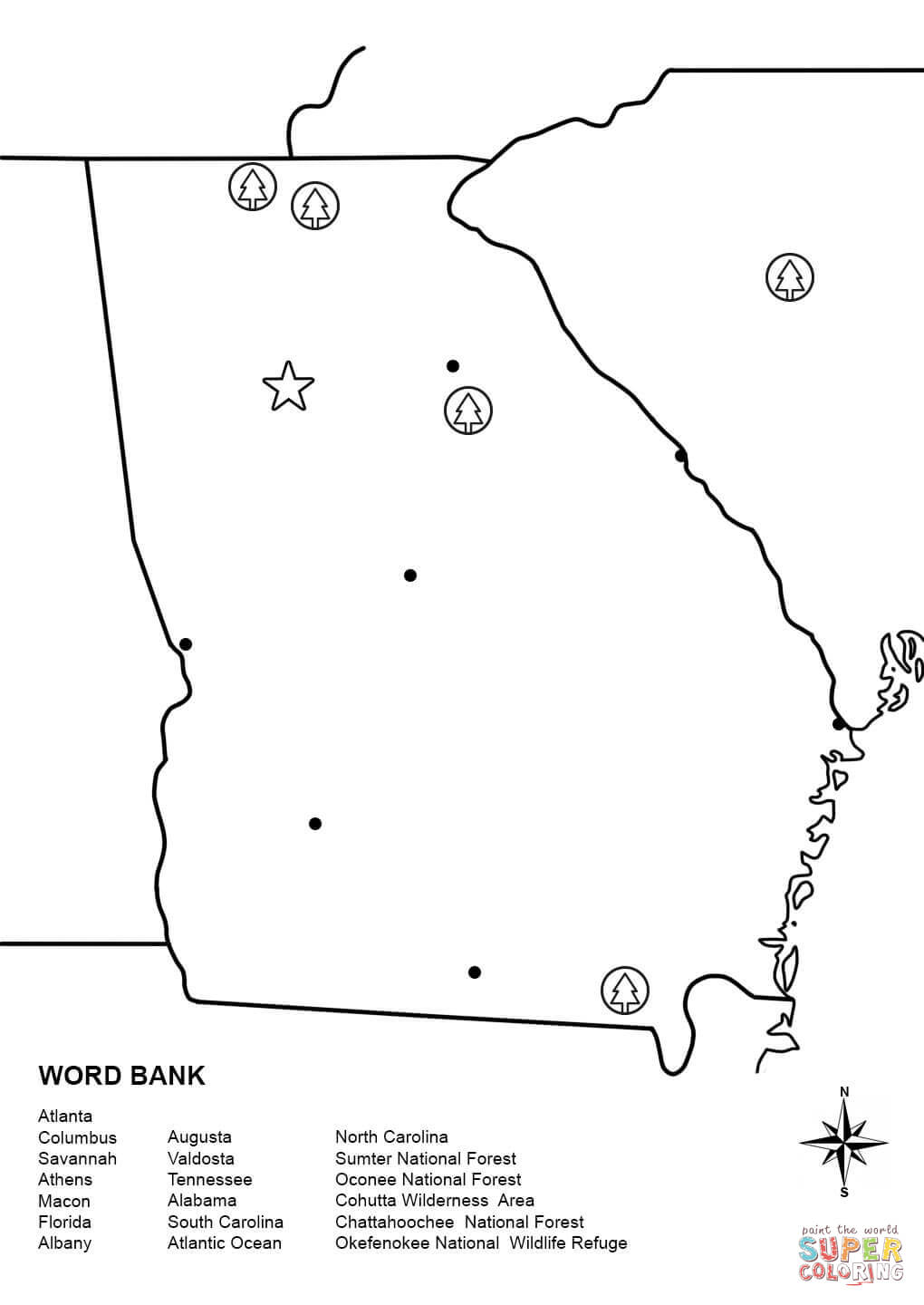 georgia map coloring page 16 best maps images on pinterest 50 states cards and page coloring map georgia
