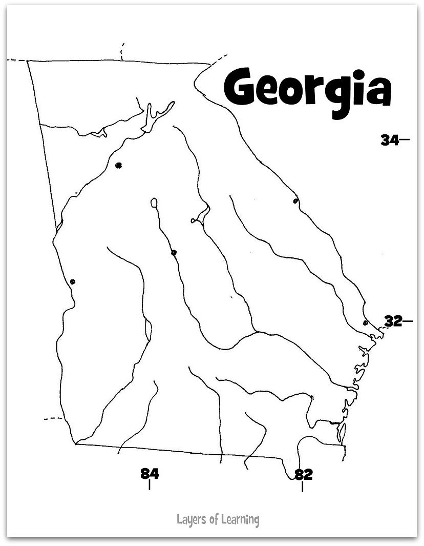 georgia map coloring page blank map outline georgia coloring page at yescoloring georgia page map coloring