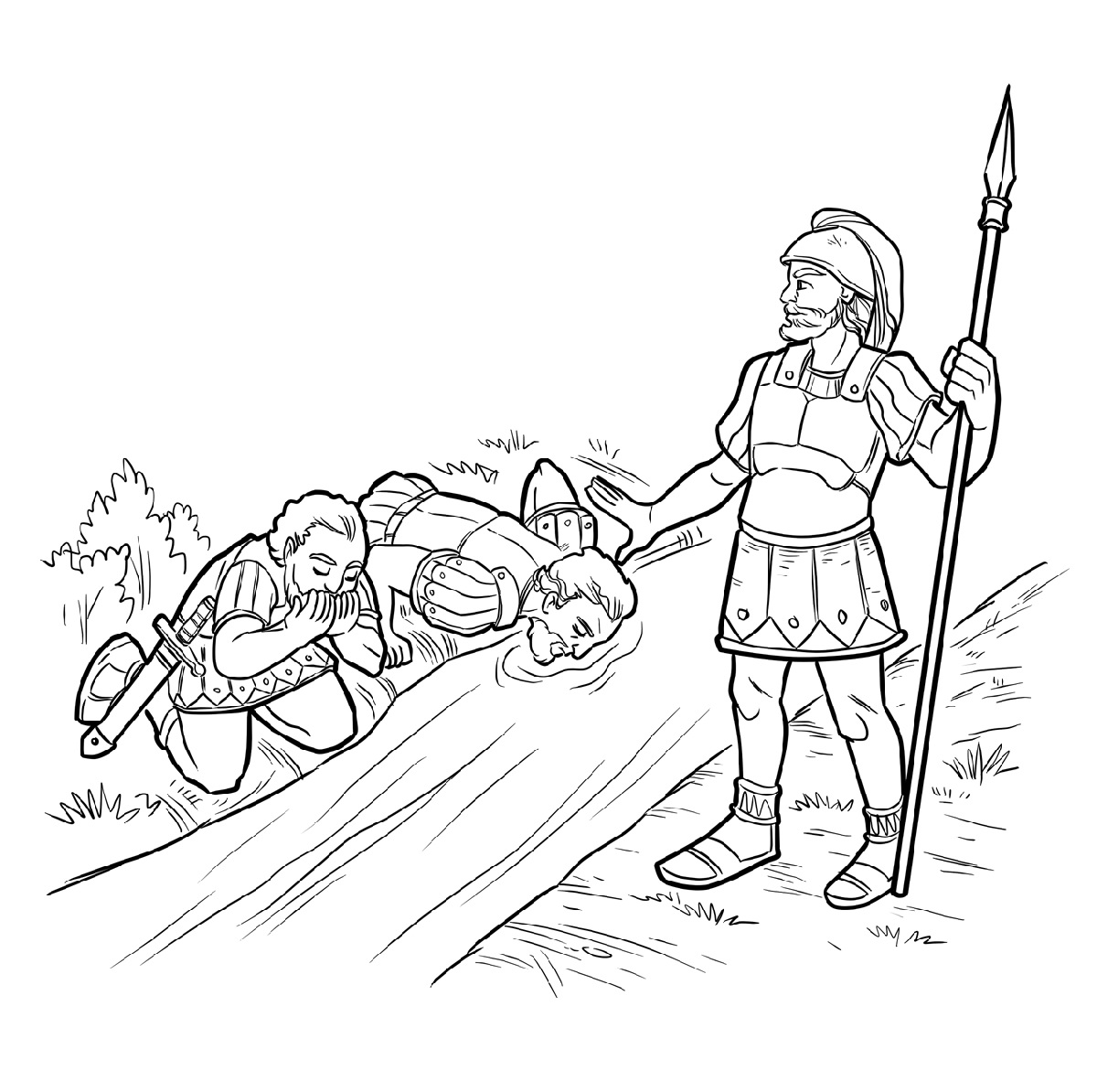 gideon coloring pages gideon selects his army of 300 men coloring page from coloring pages gideon