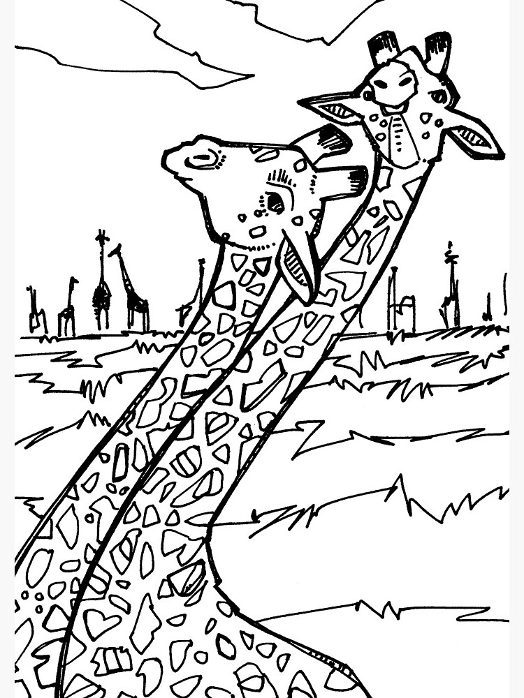 giraffe coloring image quotgiraffe coloring book imagequot spiral notebook by giraffe image coloring