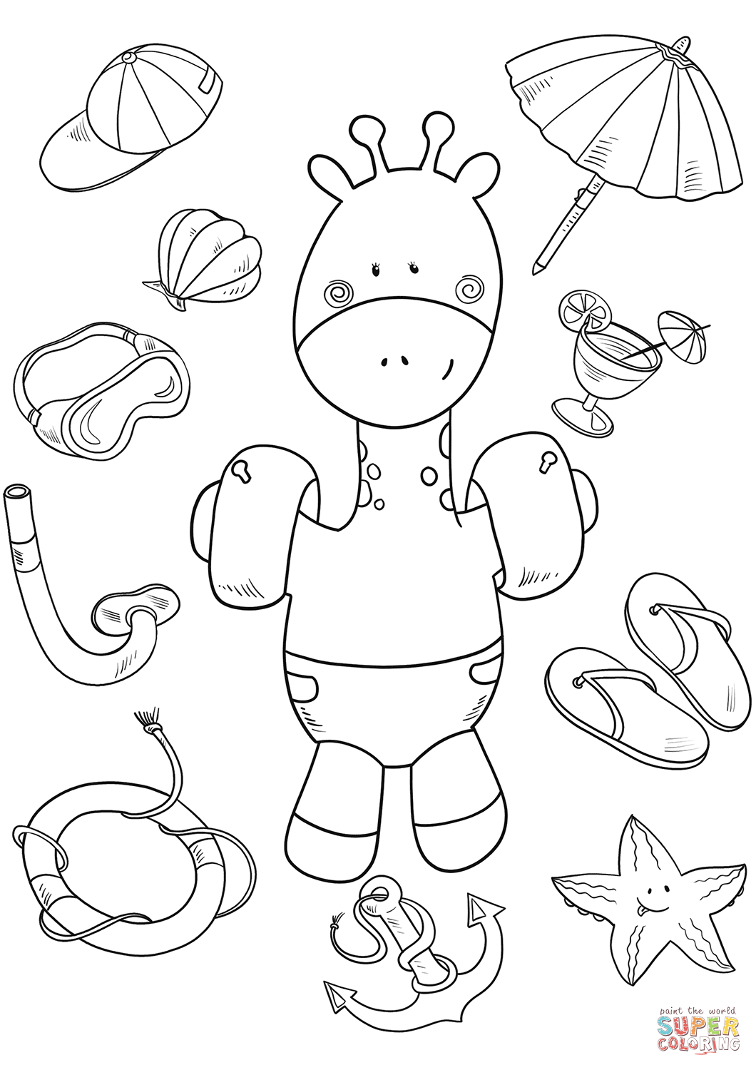 giraffes coloring pages baby giraffe on the beach coloring page free printable giraffes pages coloring