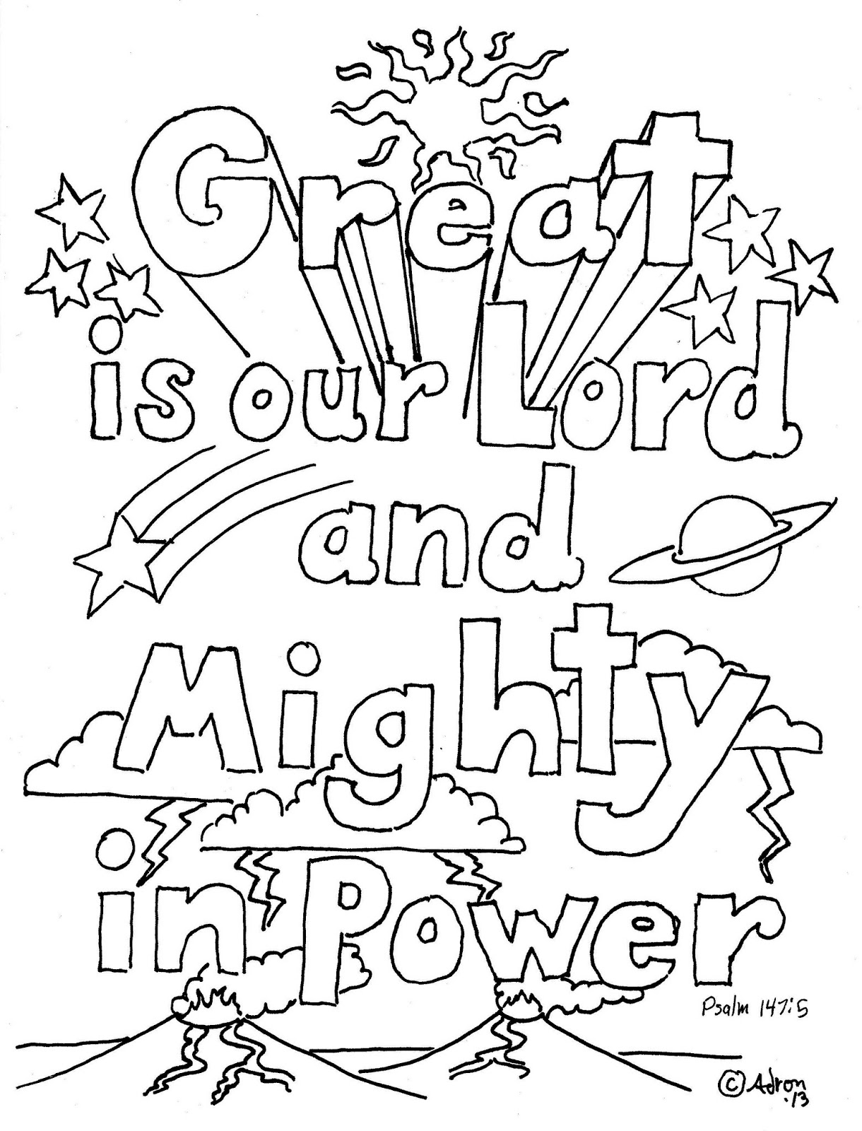 gods power coloring page great is our lord and mighty in power coloring sheet coloring page gods power