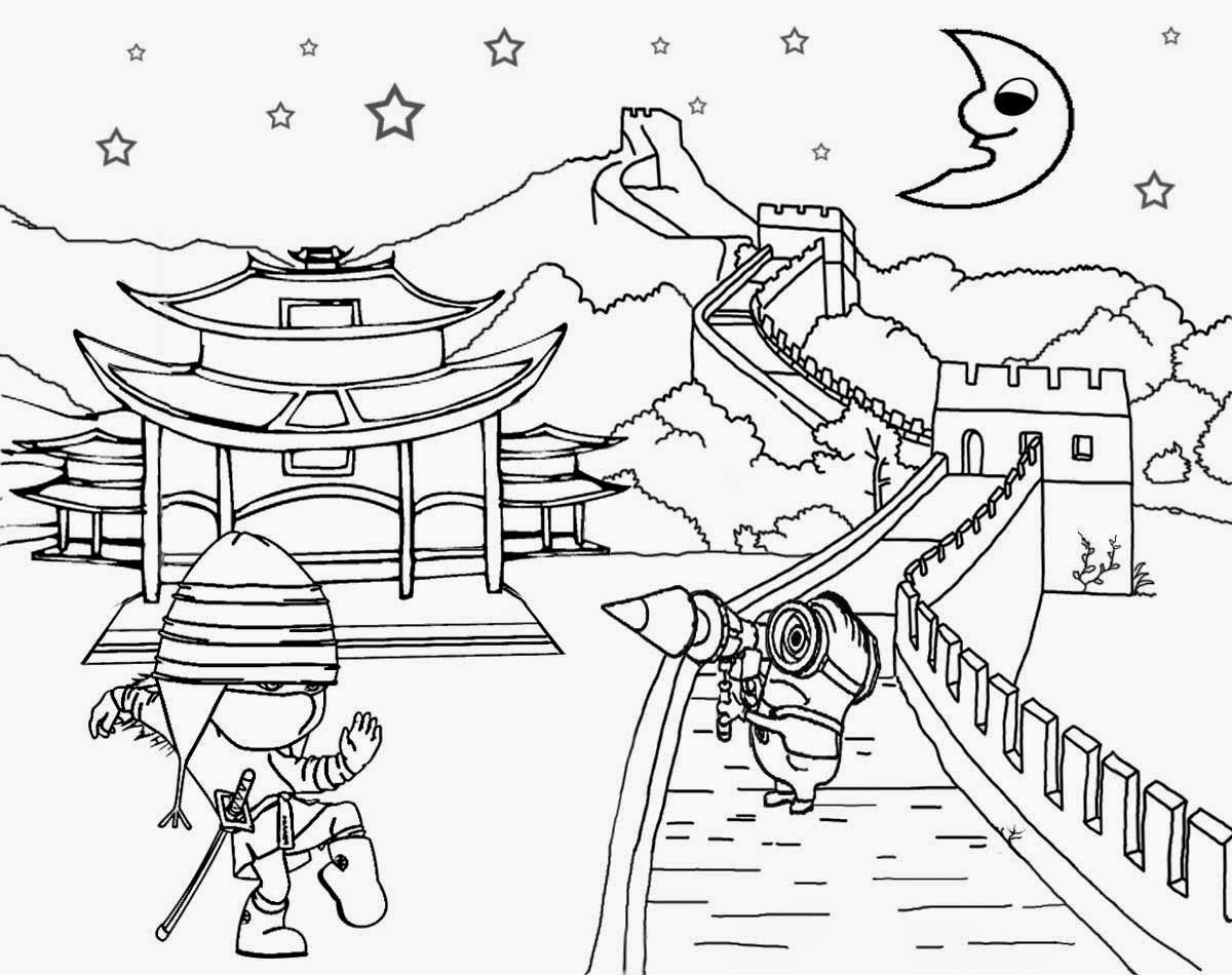 great wall of china coloring sheet learn how to draw great wall of china world heritage sheet wall coloring of china great