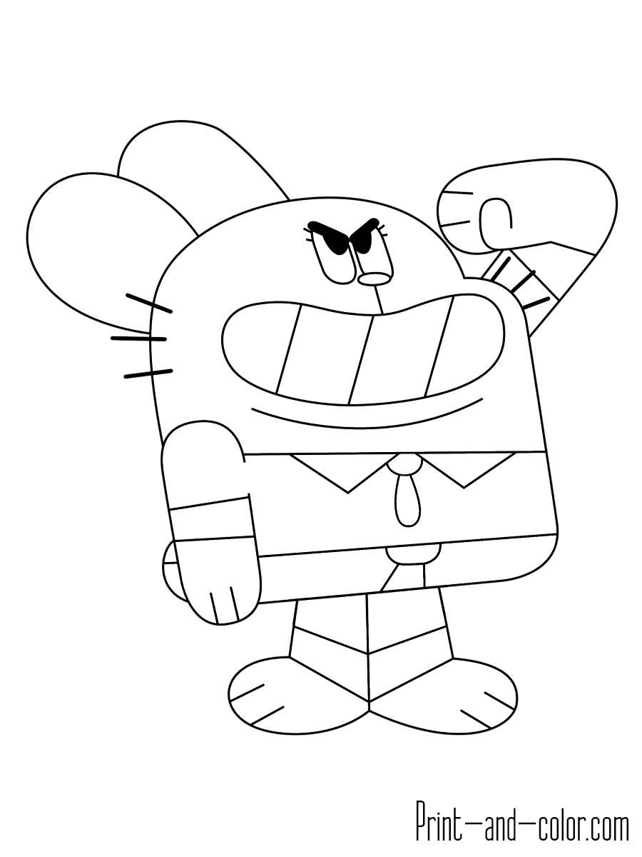 gumball cartoon coloring pages pin by nada ad on party the amazing world of gumball pages coloring cartoon gumball