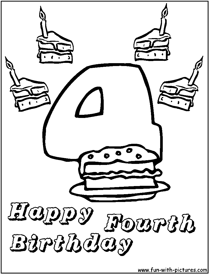 happy 4th birthday coloring pages birthday coloring pages coloring birthday 4th happy pages