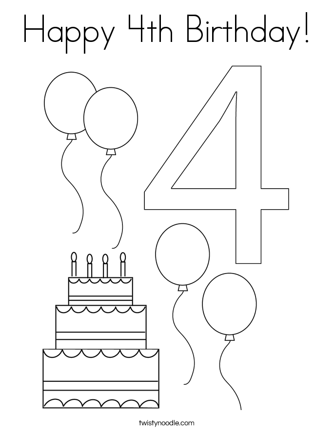 happy 4th birthday coloring pages happy 4th birthday cake coloring page for kids holiday birthday pages 4th coloring happy