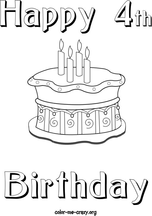 happy 4th birthday coloring pages happy 4th birthday coloring pages at getcoloringscom coloring birthday happy pages 4th