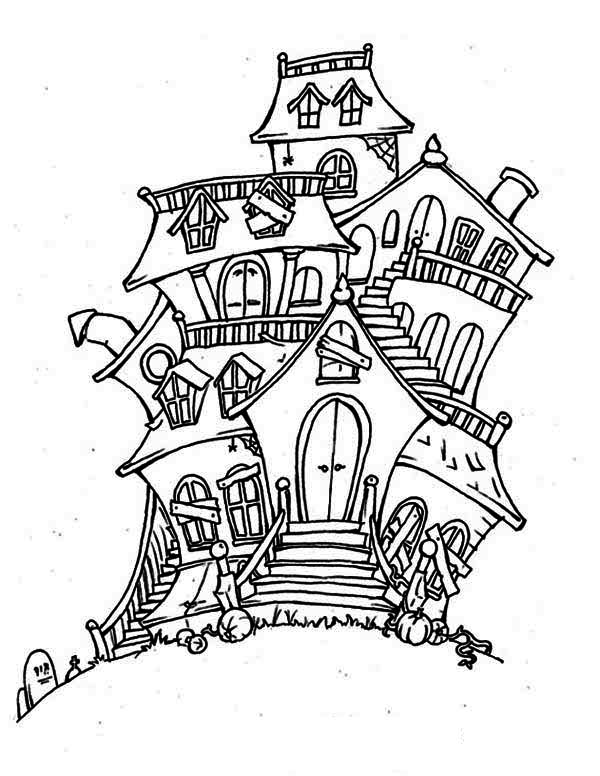haunted house coloring pages bad spirit in haunted house coloring page kids play color pages house haunted coloring