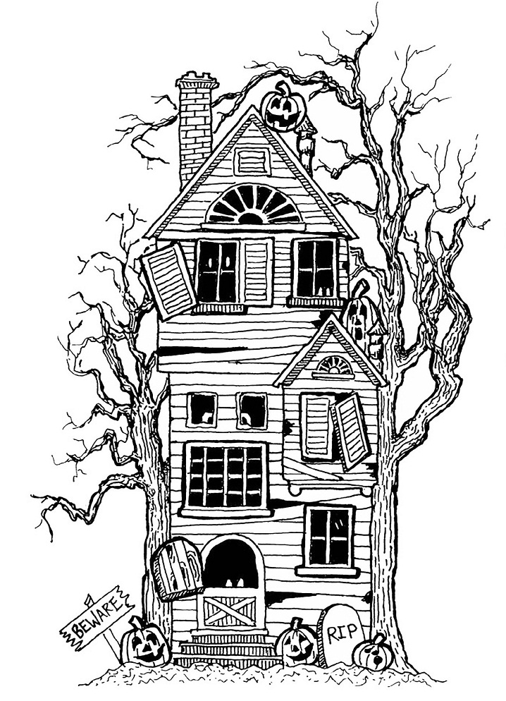 haunted house coloring pages creepy haunted house coloring page free printable pages house haunted coloring
