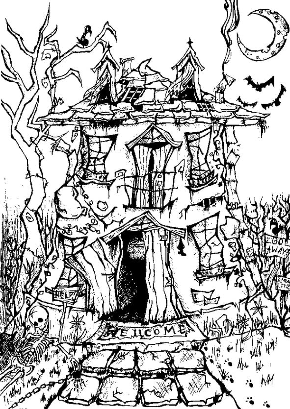 haunted house coloring pages halloween coloring page printables popsugar smart living coloring house pages haunted