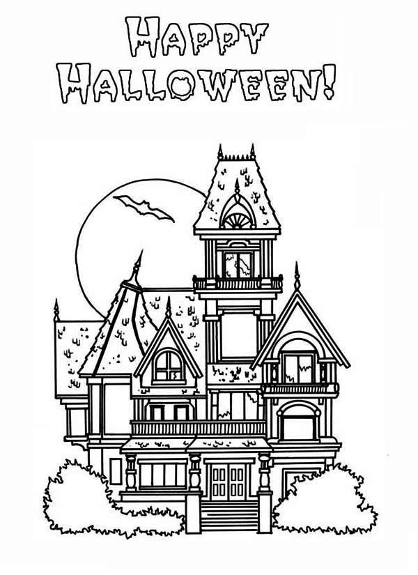 haunted house coloring pages happy halloween in haunted house coloring page kids play house haunted coloring pages
