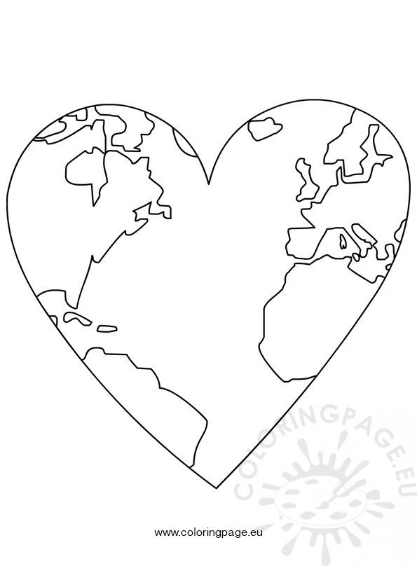 heart shaped earth earth day world map in heart coloring page heart earth shaped