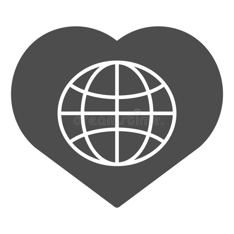 heart shaped earth globe with heart thin line icon symbol of love and peace earth heart shaped