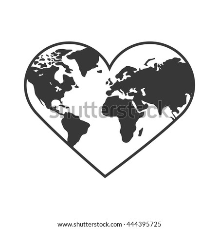 heart shaped earth heart with thin earth continents outlines inside free icon heart earth shaped