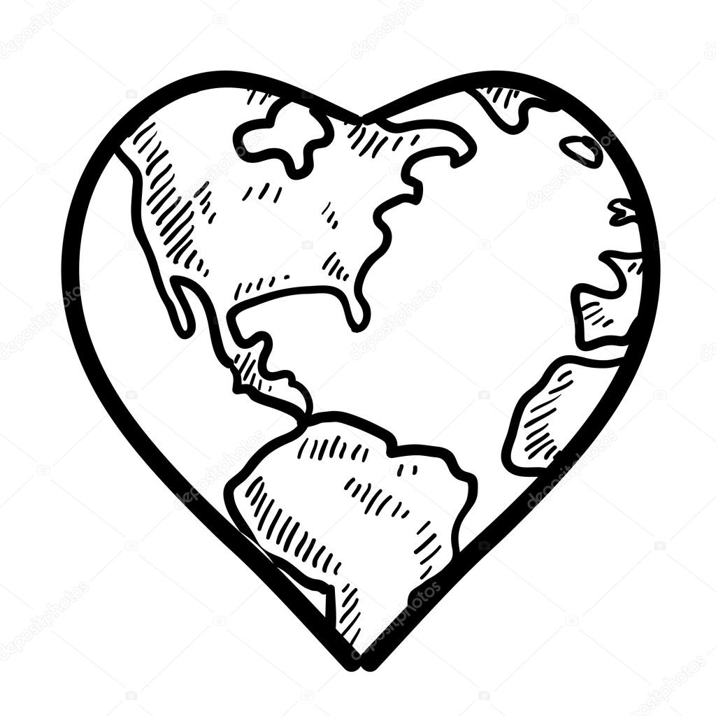 heart shaped earth sketches of love love for the earth sketch stock earth shaped heart