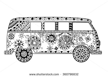 hippie van drawing black and white bus on road clipart collection cliparts hippie drawing van