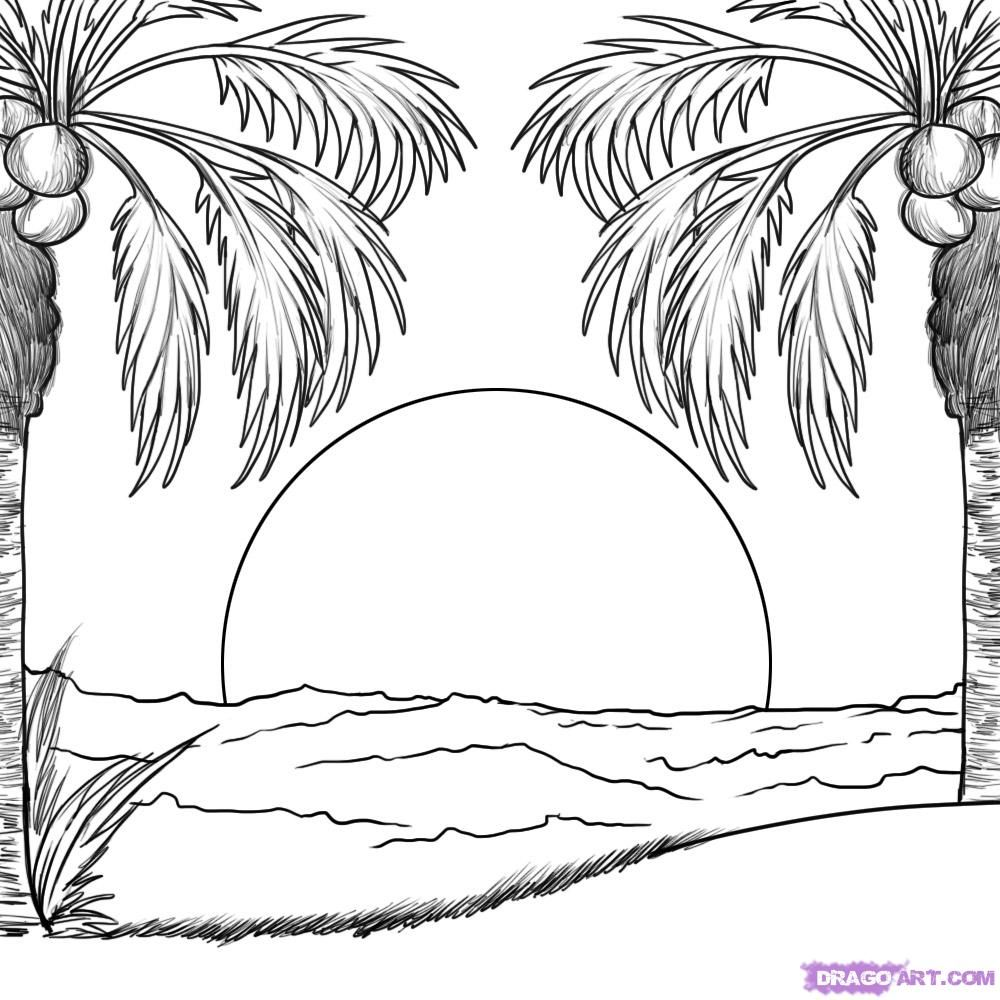 how to draw a beach beach sunset sketch at paintingvalleycom explore beach to draw how a