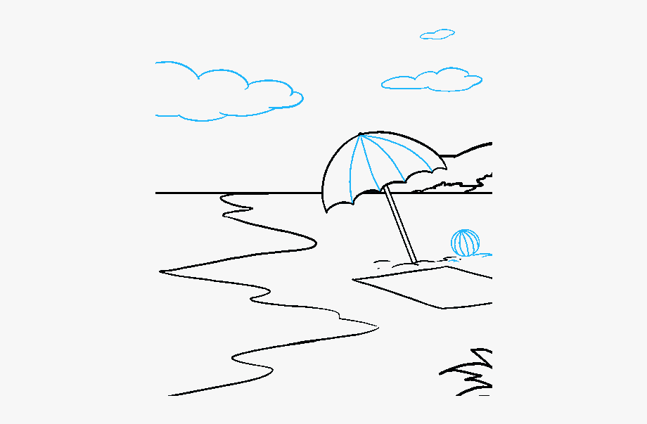 how to draw a beach how to draw a beach scene step by step drawing guide by draw to how a beach