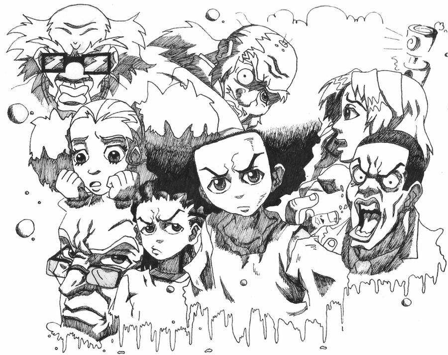 how to draw a boondocks character the boondocks complete by sakumaraookami on deviantart character a how boondocks to draw