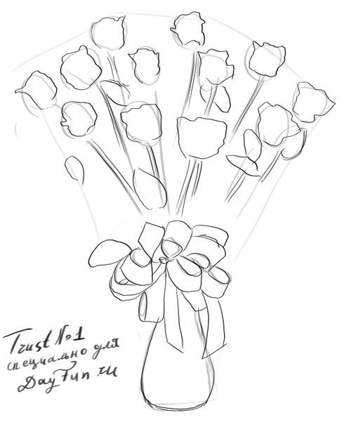 how to draw a bouquet of flowers how to draw a bouquet of roses step by step arcmelcom a bouquet of to flowers draw how