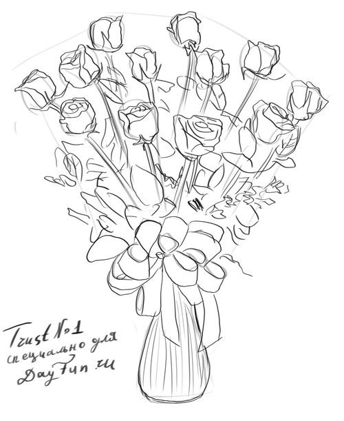 how to draw a bouquet of flowers how to draw a bouquet of roses step by step arcmelcom draw of bouquet to a flowers how