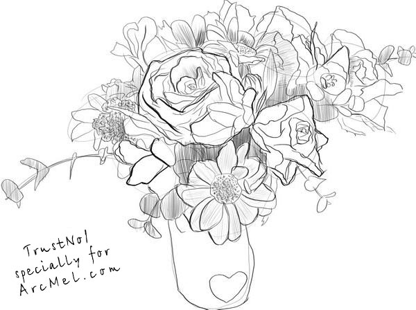 how to draw a bouquet of flowers how to draw a bouquet step by step arcmelcom to flowers bouquet draw how a of