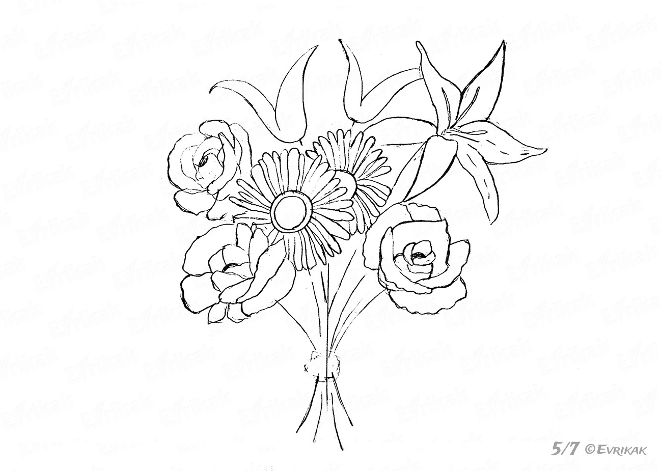how to draw a bouquet of flowers how to draw a simple rose bush bunch of flowers rose draw a how of bouquet to flowers