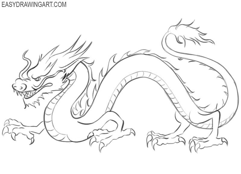 how to draw a chinese dragon how to draw a chinese dragon easy drawing art in 2020 chinese dragon to draw how a