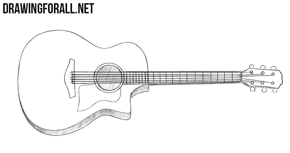 how to draw a guitar step by step how to draw a guitar drawingforallnet step step by draw how guitar to a