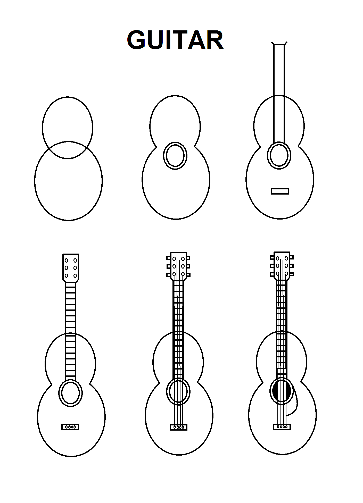 how to draw a guitar step by step learn how to draw a guitar with simple step by step step to how guitar by a step draw