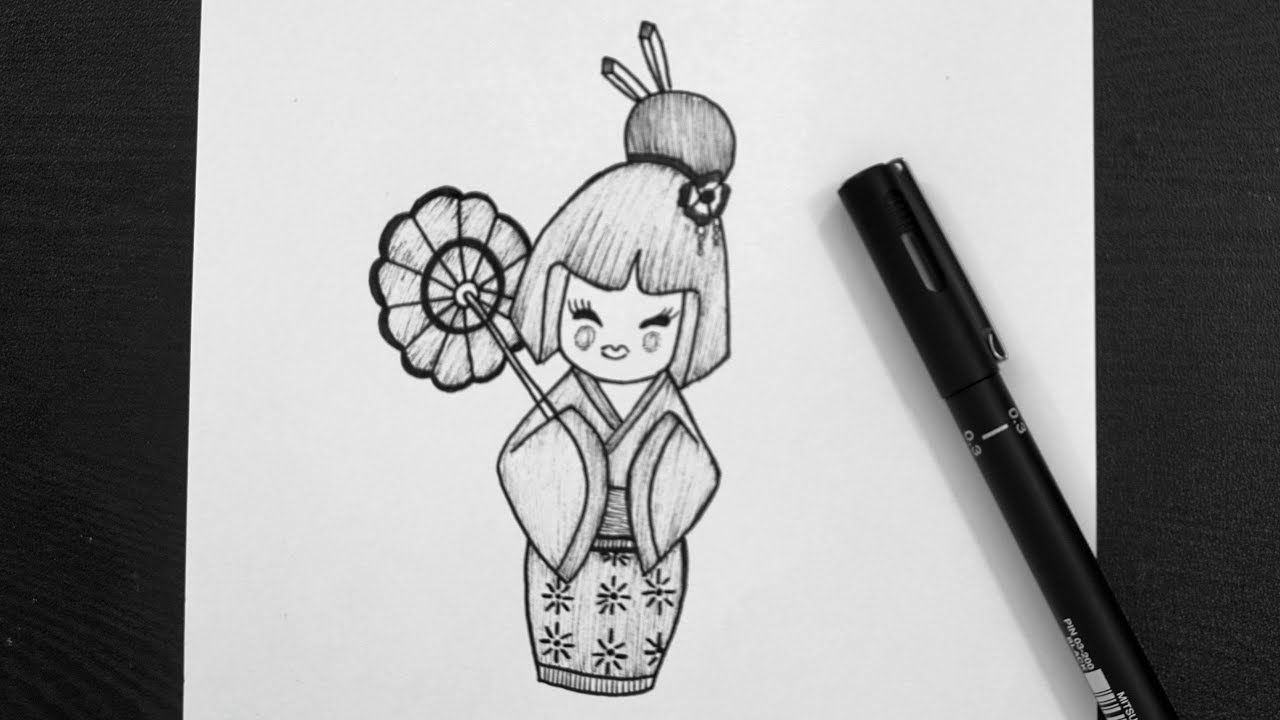 how to draw a japanese japanese doll drawing how to draw doll kokeshi doll japanese draw how a to