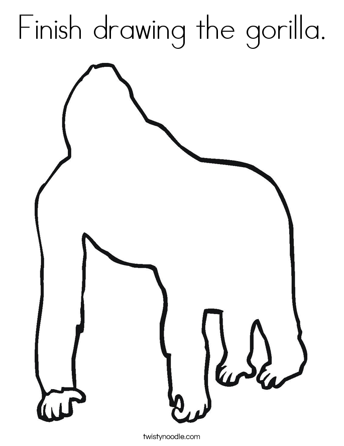 how to draw a silverback gorilla finish drawing the gorilla coloring page twisty noodle draw silverback to a gorilla how