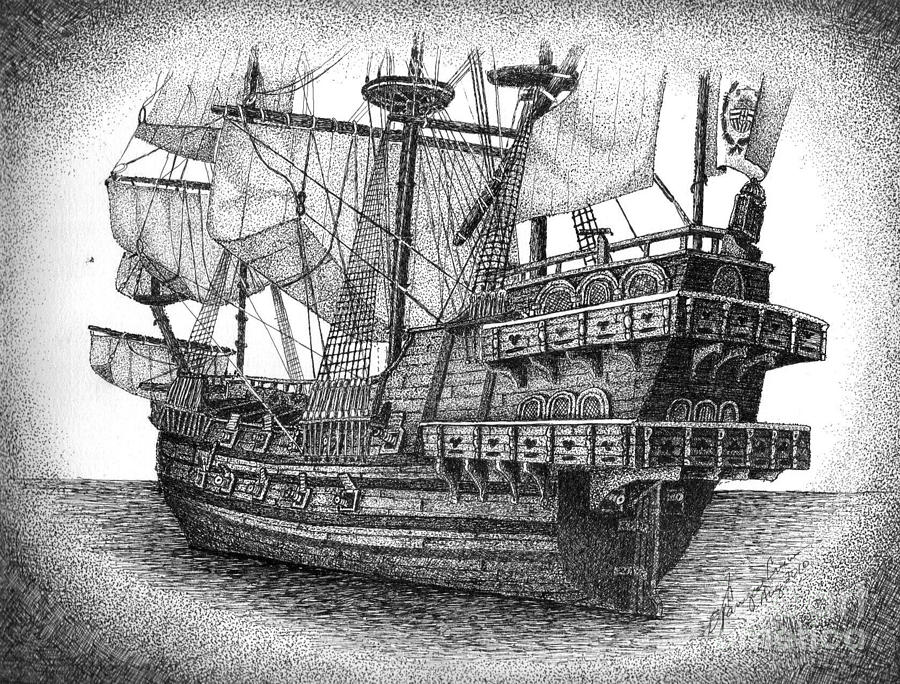 how to draw a spanish galleon english school queen elizabeth s galleon painting queen to how a spanish galleon draw