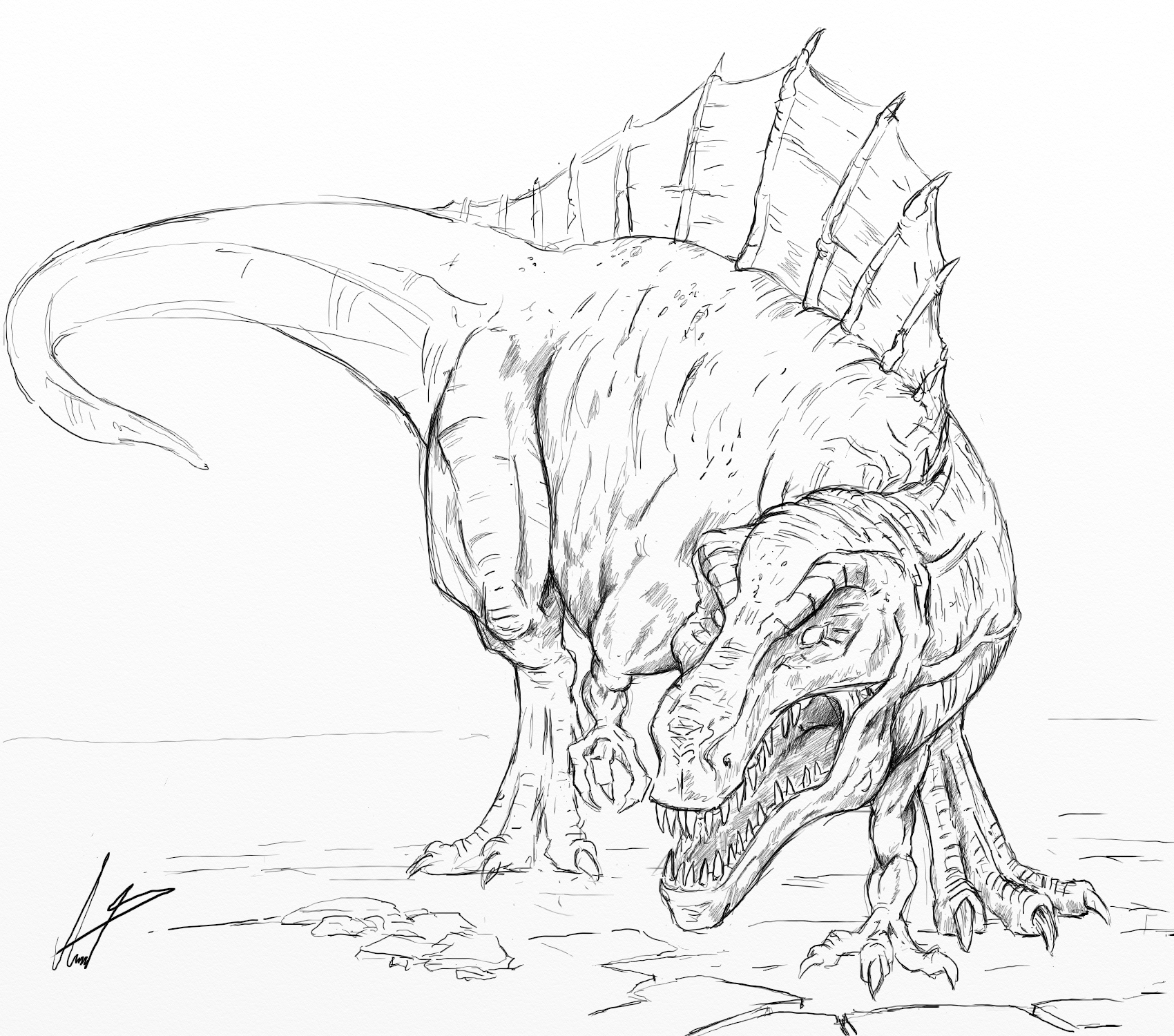 how to draw a spinosaurus spinosaurus sketch at paintingvalleycom explore a how draw to spinosaurus