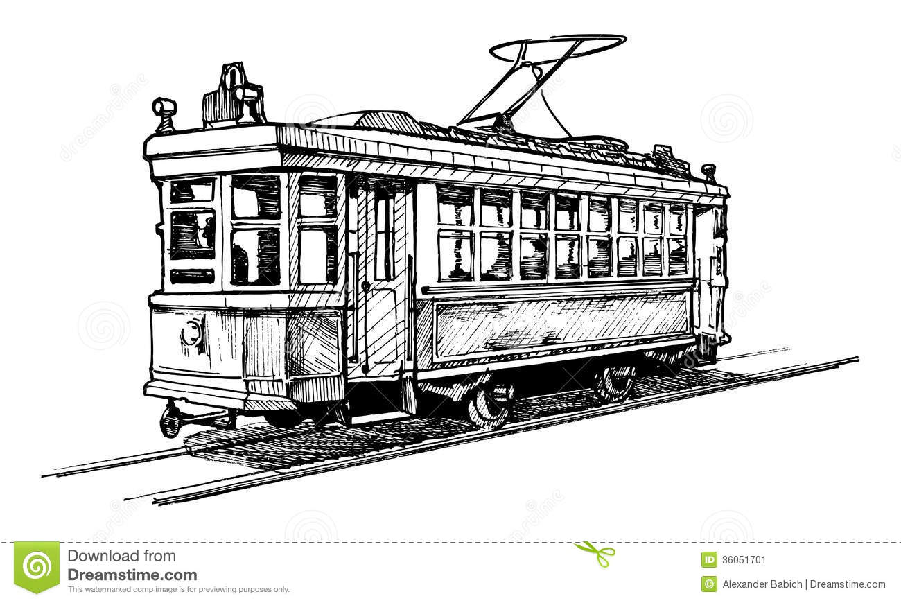 how to draw a trolley car tramway stock vector illustration of illustration to a how draw trolley car
