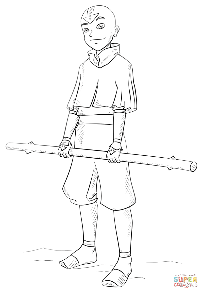 how to draw aang aang from avatar the last airbender coloring page free how draw aang to